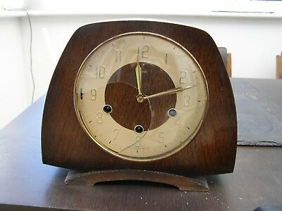 Antique / Vintage  Smiths Oak Westminster Chiming Mantle Clock ~ DAMAGED