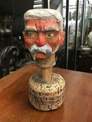 """Antique Hand Carved/ Painted Wooden French """"Old Man"""" Puppet Head On Cork Stand"""