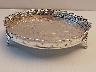 Small Round Waiter W/ Decorative Grape Clusters & Leaf Pierced Rim On 3 Tab Feet