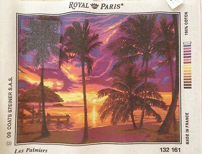 COATS ROYAL PARIS PALM TREES BEACH SCENE TAPESTRY CANVAS 37 x 48cm FINISHED SIZE