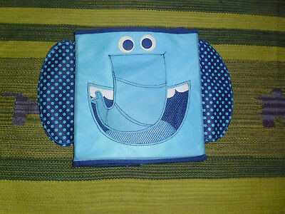 """Target kids storage blue canvas cube Elephant collapsable tote box 10"""" x 11"""""""