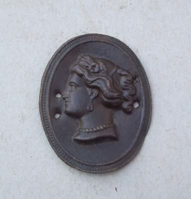Dug Brass Head of a Lady 1800's Detecting Find.