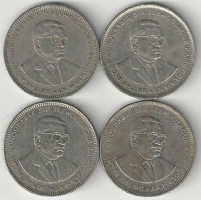 4 DIFFERENT 1 RUPEE COINS from MAURITIUS (1991, 1994, 2002 & 2005)