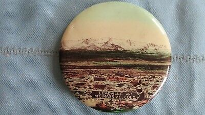 Vintage Leadville Colorado & Mt. Massive Celluloid Mirror Back Badge-Mining