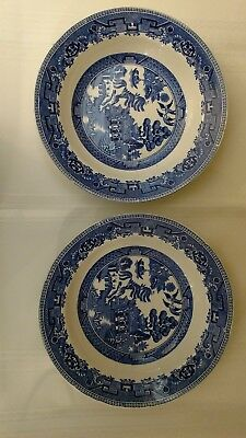 """Pair of 1930's Blue Old Willow Large 10"""" Large Rim Soup/ Serving Bowls England"""