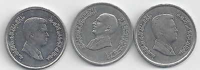 3 DIFFERENT 10 PIASTRE COINS from JORDAN - 1992, 2004 & 2012 (3 TYPES)