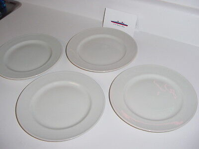 SS UNITED STATES LINES  Set of (4) Lunch Plates  /  Never-Used Condition