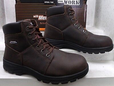 5cea2a2ea38 Skechers Mens Workshire Brown Leather Safety Toe Work Boots 77009 Shoes sz  11 M
