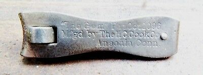 RARE 1896 GEM NAIL CLIPPER HC COOK CO ANSONIA CT MADE IN USA - EARLY MODEL wDATE