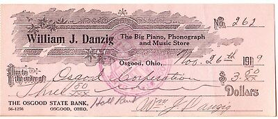 1919 William J. Danzig Music Store Canceled Check: Osgood Ohio