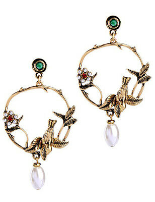 Multi Glass Crystal Ear Drop Dangle Stud Ancient Gold long Tassels Earrings