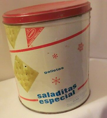 Nabisco Premium Saltines Cracker Tin Spanish Saladitas Especial 14 oz No UPC Vtg
