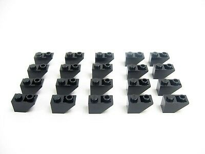 Lot 20 LEGO Old Light Gray Slope 45 2 x 1 INVERTED Classic Space Castle #3665