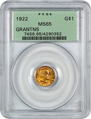 1922 Grant without Star G$1 PCGS MS65 (OGH) - Classic Commemorative - Gold Coin