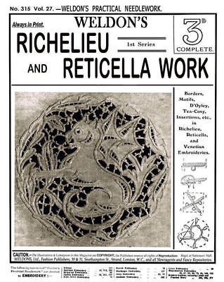 Weldon's 2D #315 c.1911 Vintage Instructions in Richelieu Lace Embroidery REPRO