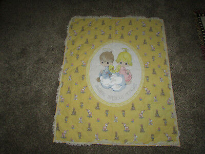 """Sharing Precious Moments Baby Quilt Blanket Yellow With Lace 44"""" x 32"""""""