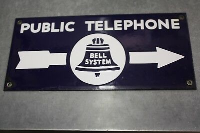 VINTAGE 40's  DOUBLE SIDED BELL SYSTEM PUBLIC TELEPHONE PORCELAIN SIGN