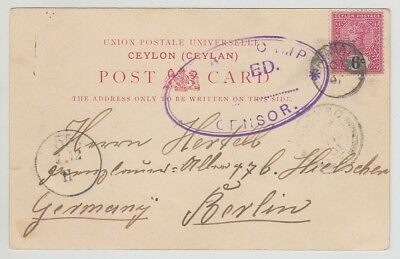 Ceylon Old Postcard Clock Tower Colombo To Germany Censor 1910 !!