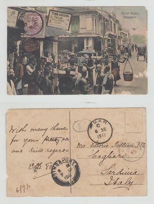 Straits Settlements Old Postcard Tong Cheong Tailor Street Muar To Italy 1911 !!