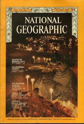 National Geographic Aug 1968 Age Of Sail Basques Crystals Mexico Mystic Salmon