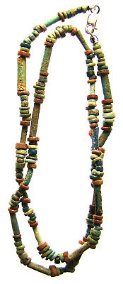 Egyptian Mummy Bead 17-Inch Red-Blue Restrung circa 600-300 BC or Earlier