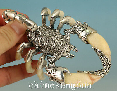 Rare Chinese Tooth Inlay Tibet Silver  Scorpion Statue Ornament netsuke