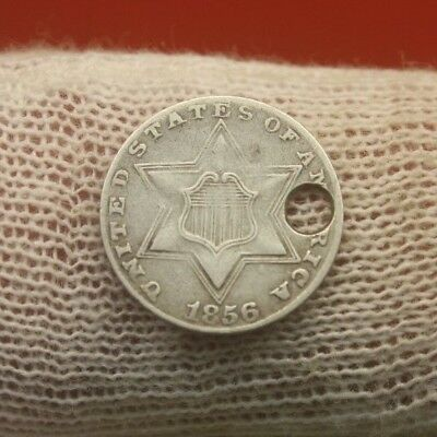 1856 SILVER THREE CENT PIECE #X1124 holed antique trime coin history 3
