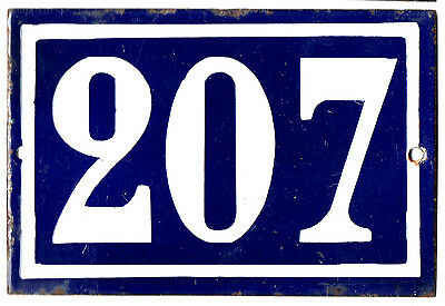 Old blue French house number 207 door gate plate plaque enamel steel metal sign