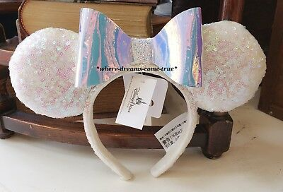 Disney Parks Iridescent Glitter Sequin Minnie Mouse Ears Headband -NEW