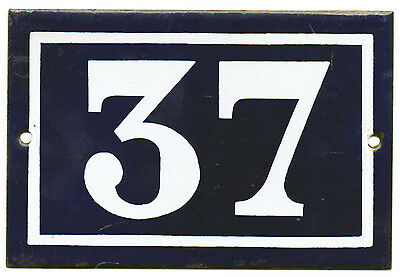 Old blue French house number 37 door gate plate plaque enamel steel metal sign