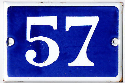Old blue French house number 57 door gate plate plaque enamel steel metal sign