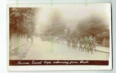 Old Postcard Harrow School Corps Drill Middlesex Real Photo Vintage Used 1911