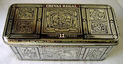 Chivas Regal Tin Box, EMPTY Collectible Case ~ Silver/Red ~Scotch Storage Box