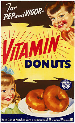 1942 Poster ad for Vitamin Donuts 12 x 19 Giclee print