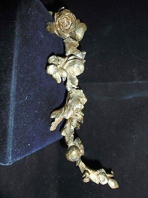 Antique French solid bronze ormolu cartouche, garniture. c1870 Tumbling flowers