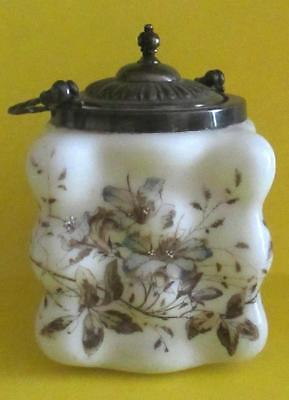 Antique Victorian Floral Milk Glass Biscuit Jar Cracker Jar
