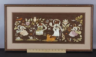 Antique Hand Wrought Silk Folk Art Embroidery, Justice, Prudence, Temperance