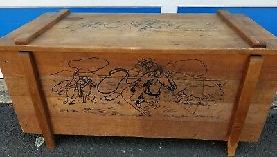 Vintage Kids Antique Wood Toy Box Chest Western Rodeo Style Roy Rogers Era
