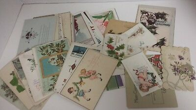 Antique Christmas Postcards Large Lot Of 50 Cards And Postcards