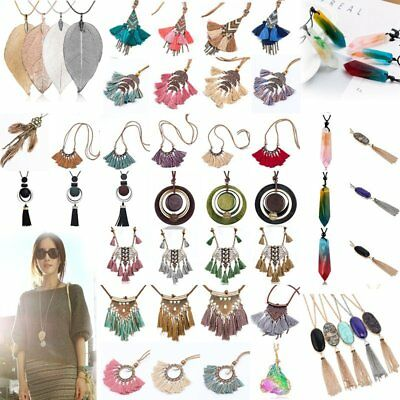 Fashion Tassel Leaves Leather Crystal Long Chain Pendant Necklace Women Jewelry