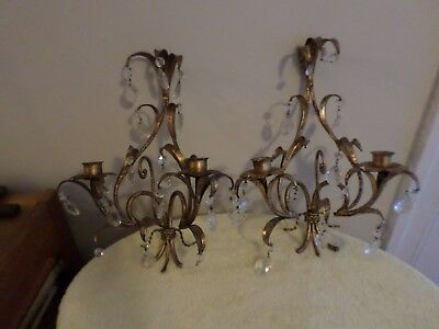 Pair Of Vintage Hollywood Regency Italian Goldgilt Tole 2 Candle Wall Sconces