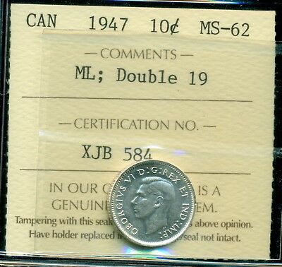 1947ML; Double 19, Canada King George VI Ten Cent ICCS MS-62