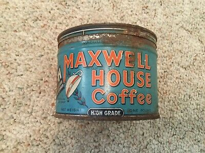 Vintage Empty 1930's Maxwell House Coffee Can 1lb