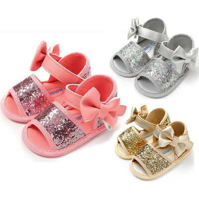 Newborn Baby Girl Sequins Bowknot Toddler First Walkers Kid Shoes+Hairband sfgb