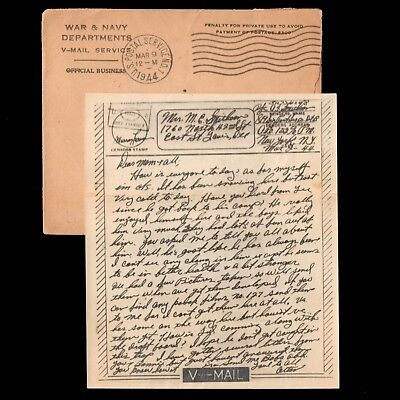 March 2 1944 WWII Examined V-MAIL - Army PFC AJ Smithson Co B