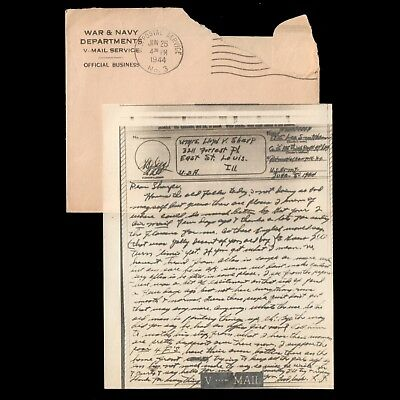 June 5 1944 Army PFC Lee S Smithson Co C 175th Infty Reg A / Examined V-MAIL