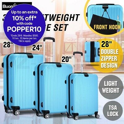 3PCS Lightweight Luggage Suitcase Trolley Set TSA Hard Case Travel Storage Bag