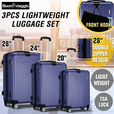 3 PCS Lightweight Luggage Suitcase Trolley Set TSA Lock Travel Hard Case Storage