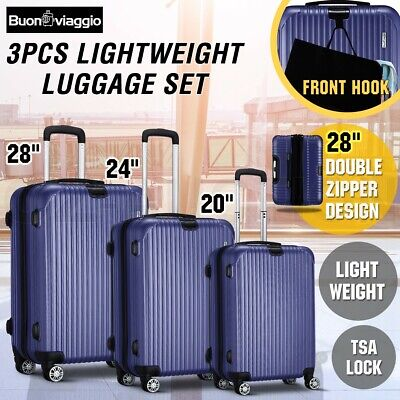 3PCS Lightweight Luggage Suitcase Trolley Set Hard Case TSA Travel Organiser Bag