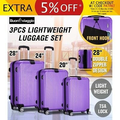 3PCS Lightweight Luggage Suitcase Trolley Set TSA Travel Carry Bag Hard Case